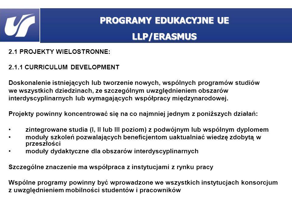 2.1 PROJEKTY WIELOSTRONNE: 2.1.1 CURRICULUM DEVELOPMENT Doskonalenie istniejących lub tworzenie nowych, wspólnych programów studiów we wszystkich dzie