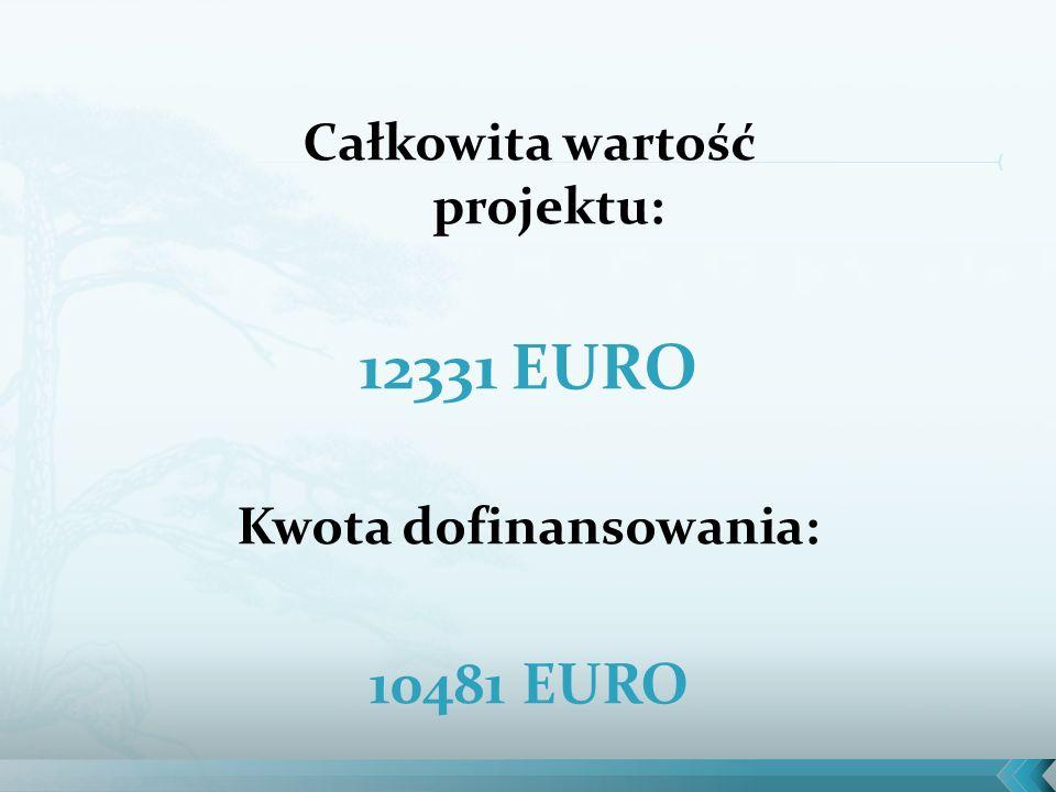 Całkowita wartość projektu: 12331 EURO Kwota dofinansowania: 10481 EURO