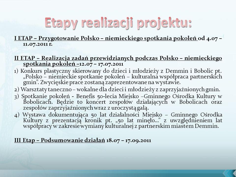 I ETAP – Przygotowanie Polsko – niemieckiego spotkania pokoleń od 4.07 – 11.07.2011 r.