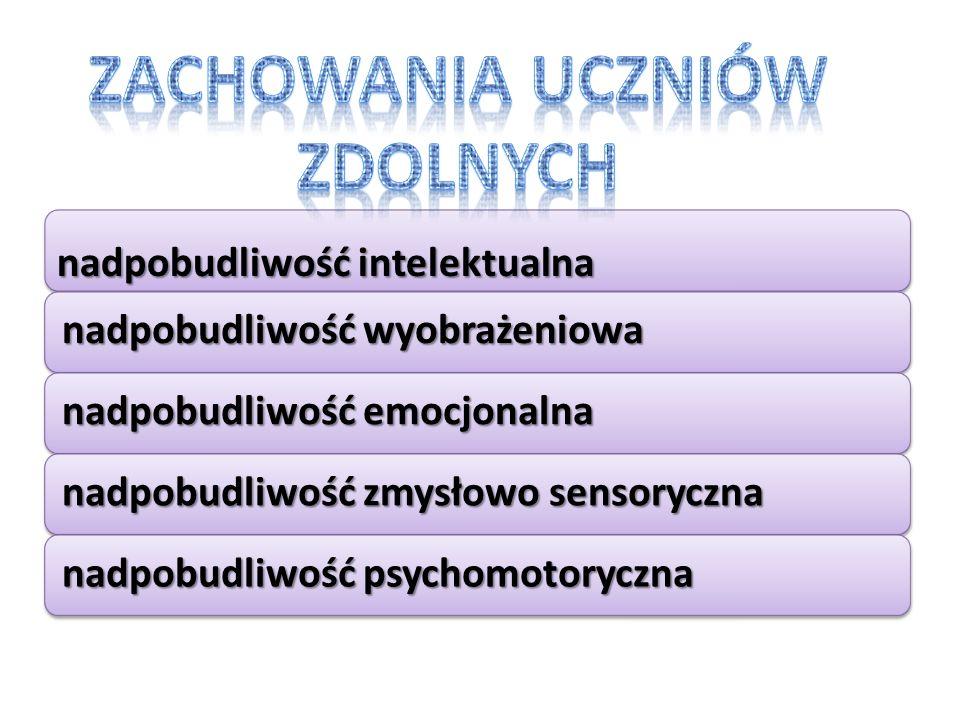 nadpobudliwość intelektualna nadpobudliwość wyobrażeniowa nadpobudliwość emocjonalna nadpobudliwość zmysłowo sensoryczna nadpobudliwość psychomotoryczna