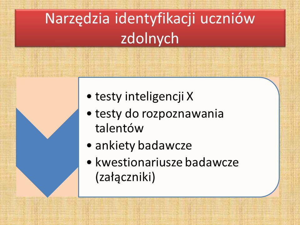 Narzędzia identyfikacji uczniów zdolnych testy inteligencji X testy do rozpoznawania talentów ankiety badawcze kwestionariusze badawcze (załączniki)
