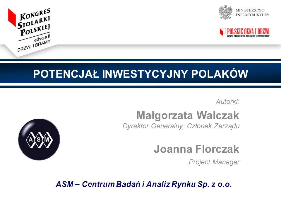 Dziękuję za uwagę Małgorzata Walczak Dyrektor Generalny, Członek Zarządu Joanna Florczak Project Manager ASM – Centrum Badań i Analiz Rynku Sp.