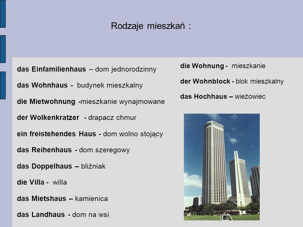 Rodzaje mieszkań : das Einfamilienhaus – dom jednorodzinny das Wohnhaus - budynek mieszkalny die Mietwohnung -mieszkanie wynajmowane der Wolkenkratzer
