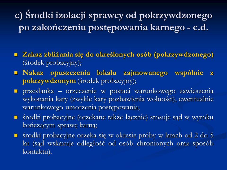 c) Środki izolacji sprawcy od pokrzywdzonego po zakończeniu postępowania karnego - c.d. Zakaz zbliżania się do określonych osób (pokrzywdzonego) (środ