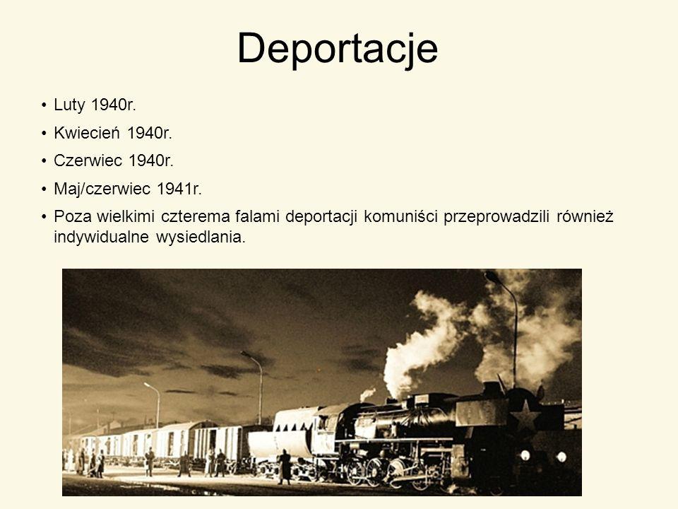 Deportacje Luty 1940r. Kwiecień 1940r. Czerwiec 1940r. Maj/czerwiec 1941r. Poza wielkimi czterema falami deportacji komuniści przeprowadzili również i