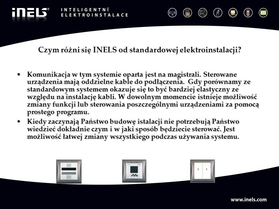 Czym różni się INELS od standardowej elektroinstalacji? Komunikacja w tym systemie oparta jest na magistrali. Sterowane urządzenia mają oddzielne kabl