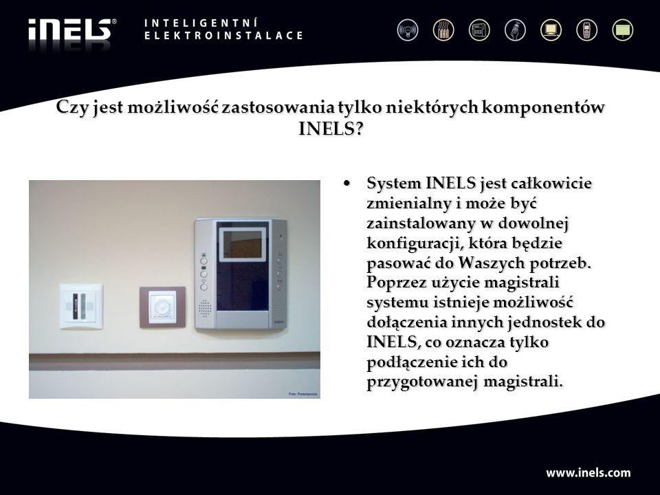 Czy jest możliwość zastosowania tylko niektórych komponentów INELS? System INELS jest całkowicie zmienialny i może być zainstalowany w dowolnej konfig