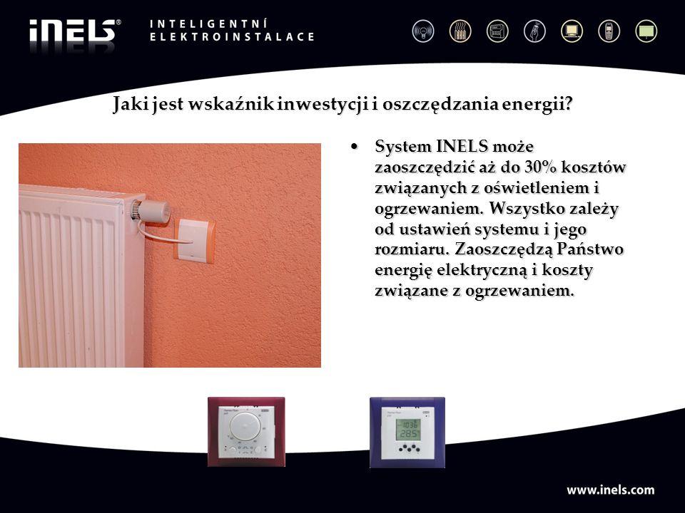 Jaki jest wskaźnik inwestycji i oszczędzania energii? System INELS może zaoszczędzić aż do 30% kosztów związanych z oświetleniem i ogrzewaniem. Wszyst