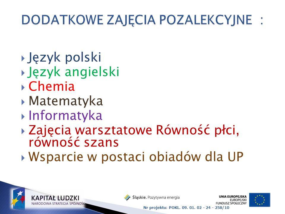 Język polski Język angielski Chemia Matematyka Informatyka Zajęcia warsztatowe Równość płci, równość szans Wsparcie w postaci obiadów dla UP Nr projektu: POKL.