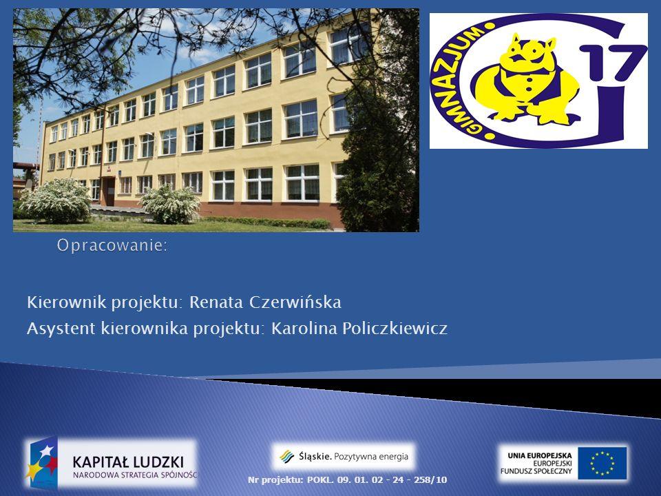 Kierownik projektu: Renata Czerwińska Asystent kierownika projektu: Karolina Policzkiewicz Nr projektu: POKL.