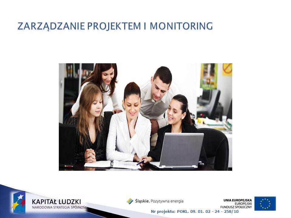 Obejmuje : Prowadzenie i organizację pracy zespołu projektu Obsługa finansowa Współpraca z podwykonawcami Kontakt z Instytucją Pośredniczącą Sprawozdawczość Gromadzenie i archiwizacja dokumentacji Prowadzenie bieżących spraw związanych z realizacją projektu Monitoring realizacji projektu i sposobu wykorzystania udzielonego wsparcia Nr projektu: POKL.