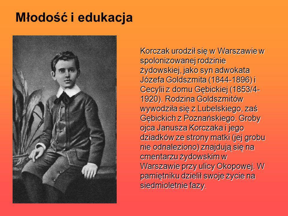Młodość i edukacja Korczak urodził się w Warszawie w spolonizowanej rodzinie żydowskiej, jako syn adwokata Józefa Goldszmita (1844-1896) i Cecylii z d