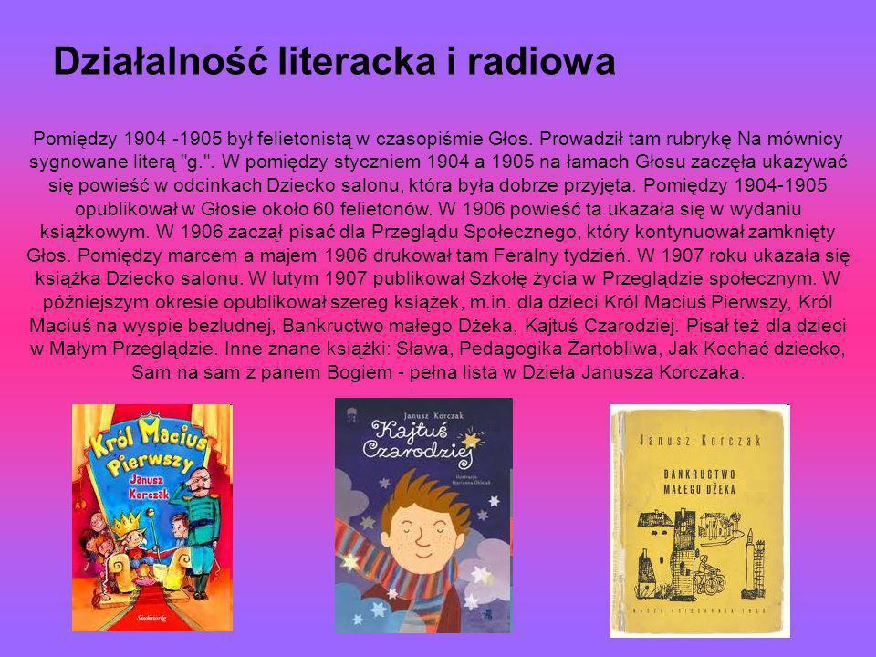 Działalność literacka i radiowa Pomiędzy 1904 -1905 był felietonistą w czasopiśmie Głos. Prowadził tam rubrykę Na mównicy sygnowane literą