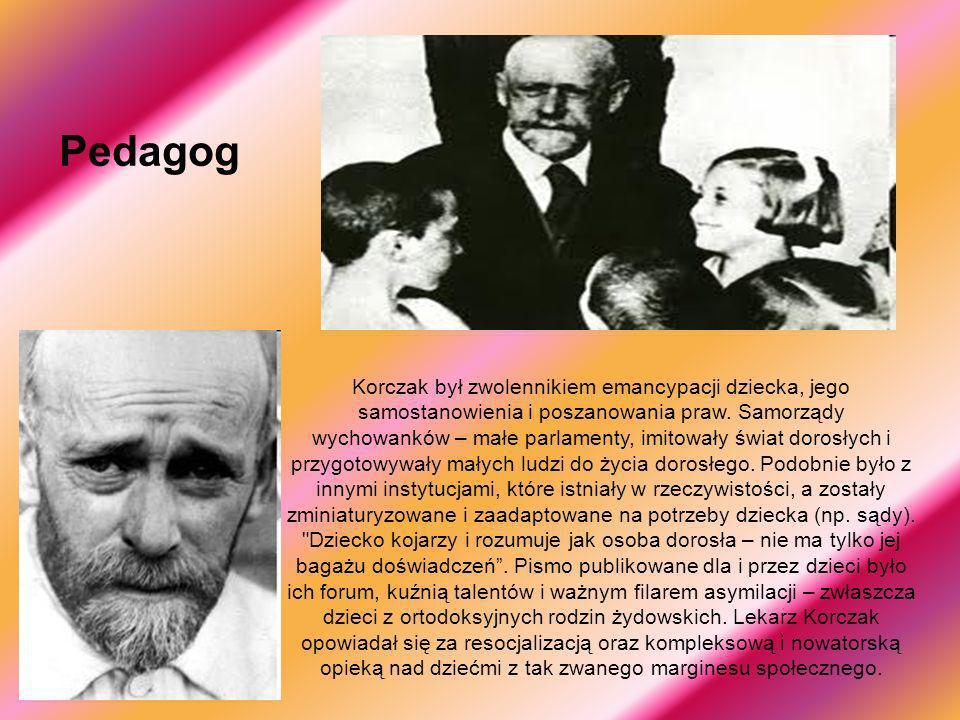 Pedagog Korczak był zwolennikiem emancypacji dziecka, jego samostanowienia i poszanowania praw. Samorządy wychowanków – małe parlamenty, imitowały świ
