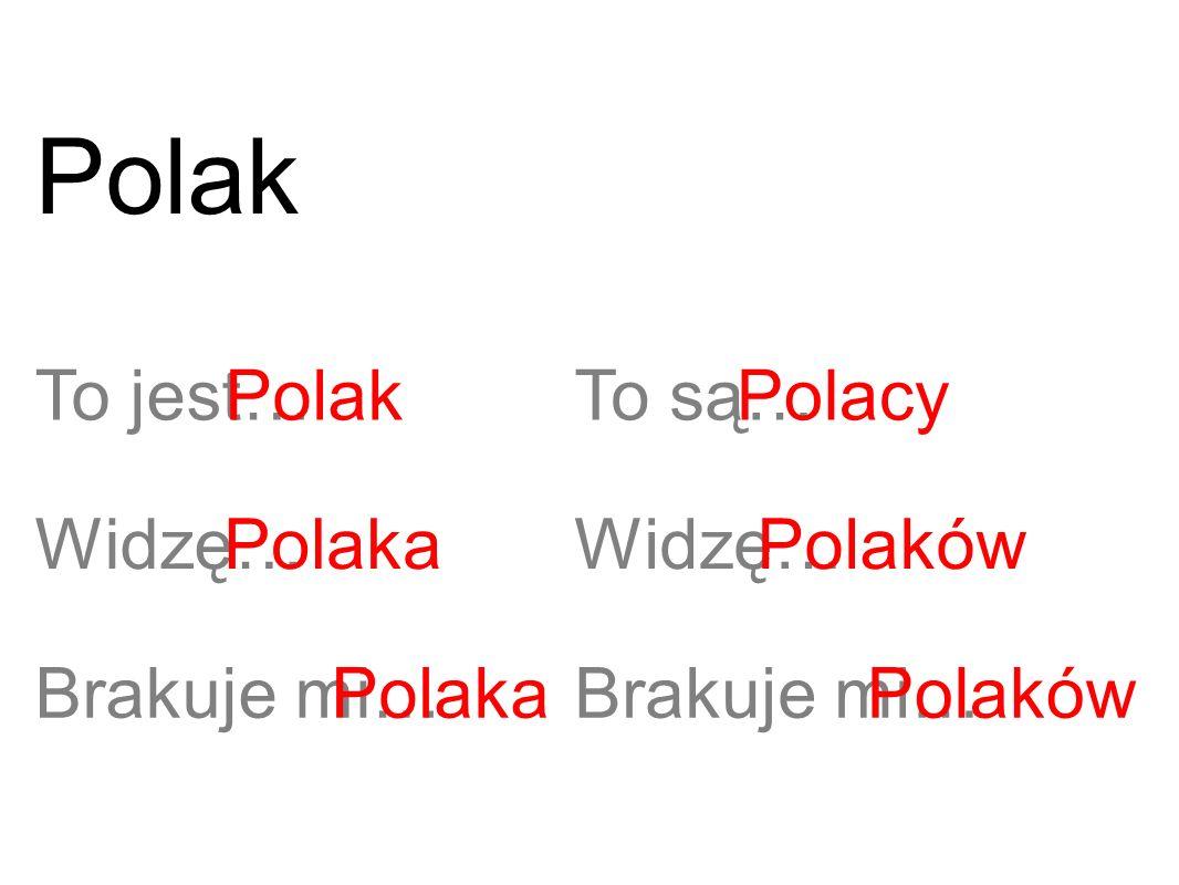 To jest…Polak Widzę…Polaka Brakuje mi…Polaka To są… Widzę… Brakuje mi… Polacy Polaków Polak
