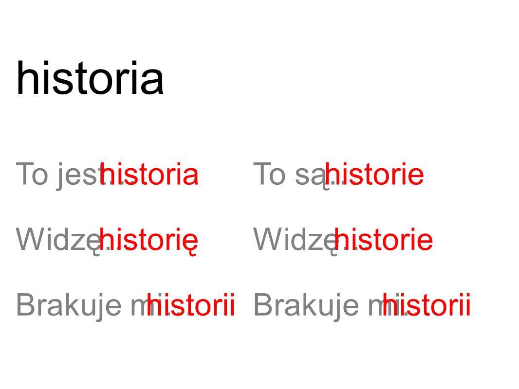 To jest…historia Widzę…historię Brakuje mi…historii To są… Widzę… Brakuje mi… historie historii historia