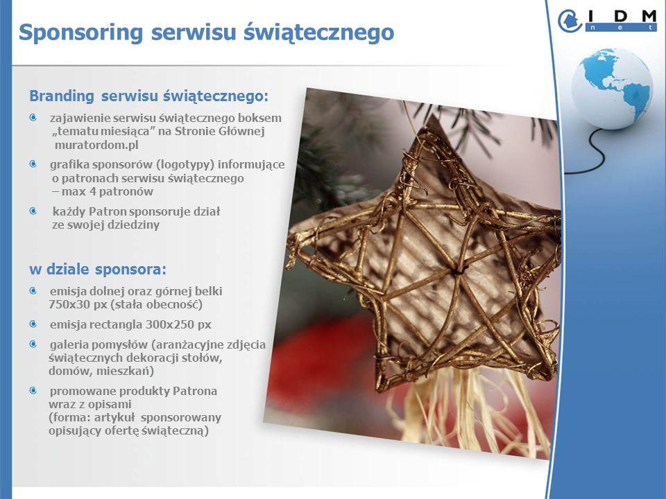 Branding serwisu świątecznego: zajawienie serwisu świątecznego boksem tematu miesiąca na Stronie Głównej muratordom.pl grafika sponsorów (logotypy) in