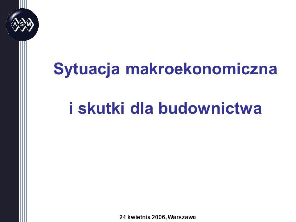 Sytuacja makroekonomiczna i skutki dla budownictwa 24 kwietnia 2006, Warszawa