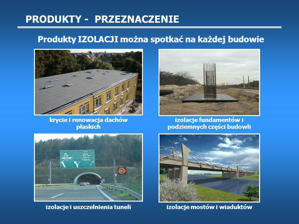 PRODUKTY - PRZEZNACZENIE Produkty IZOLACJI można spotkać na każdej budowie krycie i renowacja dachów płaskich izolacje mostów i wiaduktów izolacje fundamentów i podziemnych części budowli izolacje i uszczelnienia tuneli
