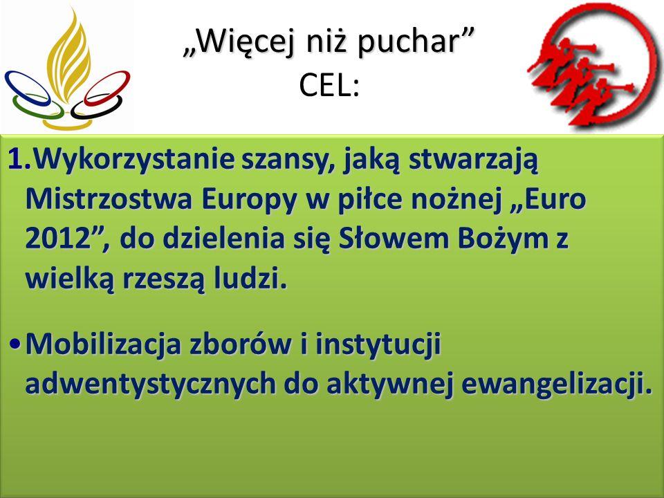 Więcej niż puchar Więcej niż puchar CEL: 1.Wykorzystanie szansy, jaką stwarzają Mistrzostwa Europy w piłce nożnej Euro 2012, do dzielenia się Słowem Bożym z wielką rzeszą ludzi.