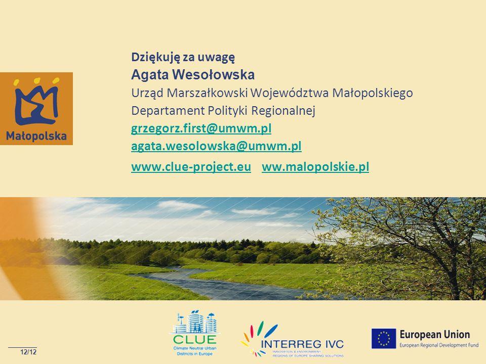Dziękuję za uwagę Agata Wesołowska Urząd Marszałkowski Województwa Małopolskiego Departament Polityki Regionalnej grzegorz.first@umwm.pl agata.wesolow