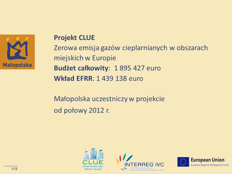 3/12 Projekt CLUE Zerowa emisja gazów cieplarnianych w obszarach miejskich w Europie Budżet całkowity: 1 895 427 euro Wkład EFRR: 1 439 138 euro Małop