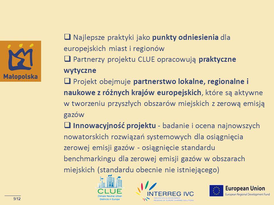 9/12 Najlepsze praktyki jako punkty odniesienia dla europejskich miast i regionów Partnerzy projektu CLUE opracowują praktyczne wytyczne Projekt obejm
