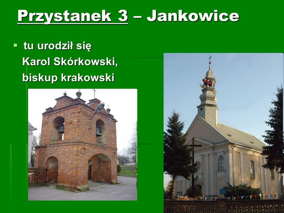 Przystanek 3 – Jankowice tu urodził się tu urodził się Karol Skórkowski, Karol Skórkowski, biskup krakowski biskup krakowski