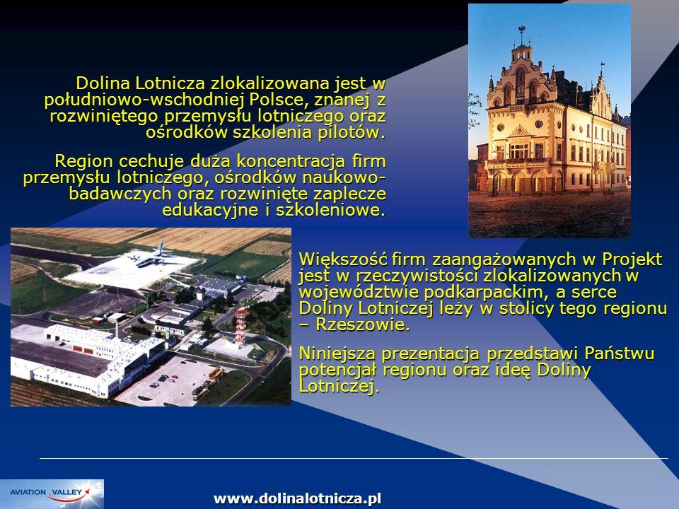 DOLINA LOTNICZA Dolina Lotnicza zlokalizowana jest w południowo-wschodniej Polsce, znanej z rozwiniętego przemysłu lotniczego oraz ośrodków szkolenia
