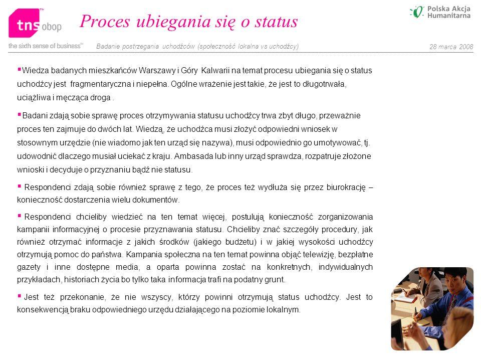 Badanie postrzegania uchodźców (społeczność lokalna vs uchodźcy) 28 marca 2008 Proces ubiegania się o status Wiedza badanych mieszkańców Warszawy i Gó