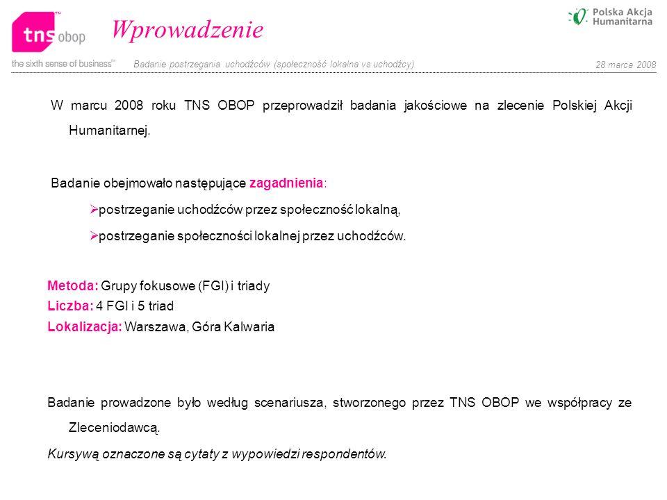Badanie postrzegania uchodźców (społeczność lokalna vs uchodźcy) 28 marca 2008 W marcu 2008 roku TNS OBOP przeprowadził badania jakościowe na zlecenie