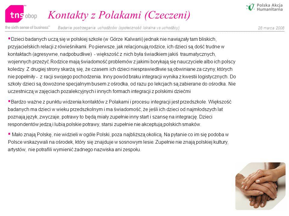 Badanie postrzegania uchodźców (społeczność lokalna vs uchodźcy) 28 marca 2008 Kontakty z Polakami (Czeczeni) Dzieci badanych uczą się w polskiej szko