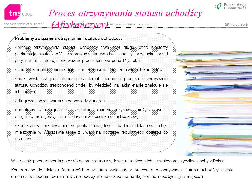 Badanie postrzegania uchodźców (społeczność lokalna vs uchodźcy) 28 marca 2008 Problemy związane z otrzymaniem statusu uchodźcy: proces otrzymywania s