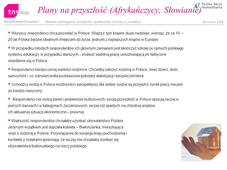Badanie postrzegania uchodźców (społeczność lokalna vs uchodźcy) 28 marca 2008 Plany na przyszłość (Afrykańczycy, Słowianie) Wszyscy respondenci chcą