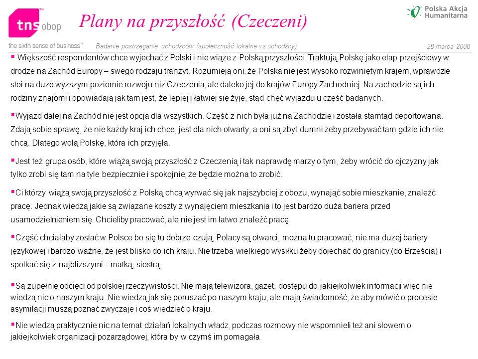 Badanie postrzegania uchodźców (społeczność lokalna vs uchodźcy) 28 marca 2008 Plany na przyszłość (Czeczeni) Większość respondentów chce wyjechać z P