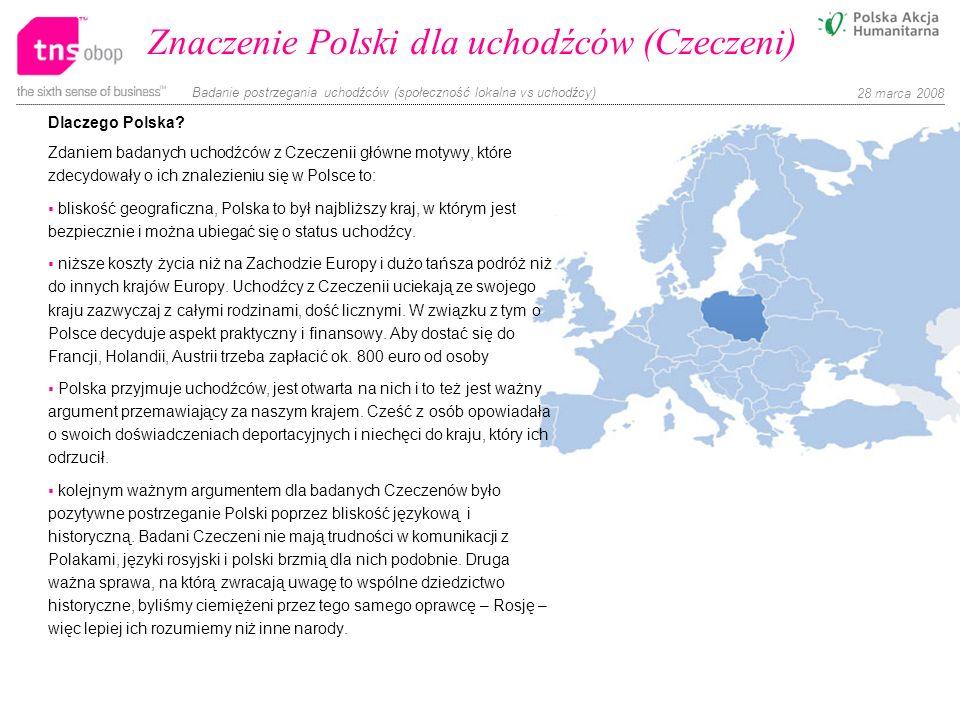 Badanie postrzegania uchodźców (społeczność lokalna vs uchodźcy) 28 marca 2008 Znaczenie Polski dla uchodźców (Czeczeni) Dlaczego Polska? Zdaniem bada