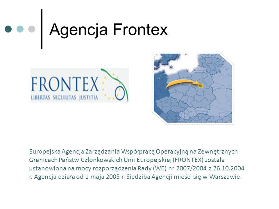 Agencja Frontex Europejska Agencja Zarządzania Współpracą Operacyjną na Zewnętrznych Granicach Państw Członkowskich Unii Europejskiej (FRONTEX) został