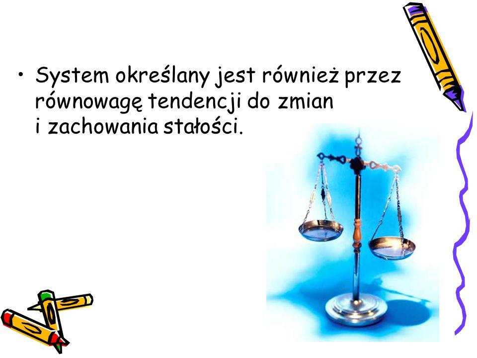System określany jest również przez równowagę tendencji do zmian i zachowania stałości.