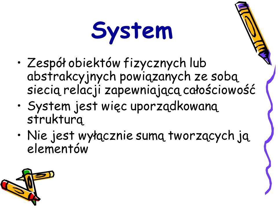System Zespół obiektów fizycznych lub abstrakcyjnych powiązanych ze sobą siecią relacji zapewniającą całościowość System jest więc uporządkowaną struk