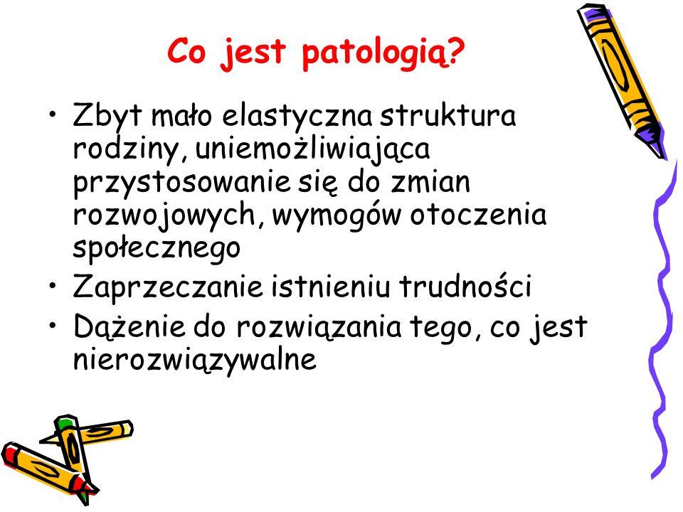 Co jest patologią? Zbyt mało elastyczna struktura rodziny, uniemożliwiająca przystosowanie się do zmian rozwojowych, wymogów otoczenia społecznego Zap