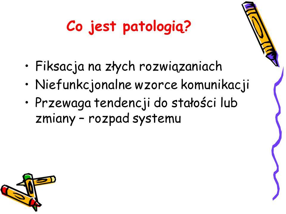 Co jest patologią? Fiksacja na złych rozwiązaniach Niefunkcjonalne wzorce komunikacji Przewaga tendencji do stałości lub zmiany – rozpad systemu