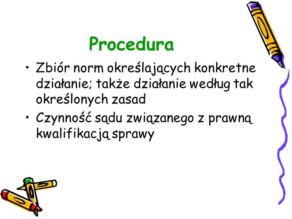 Procedura Zbiór norm określających konkretne działanie; także działanie według tak określonych zasad Czynność sądu związanego z prawną kwalifikacją sp