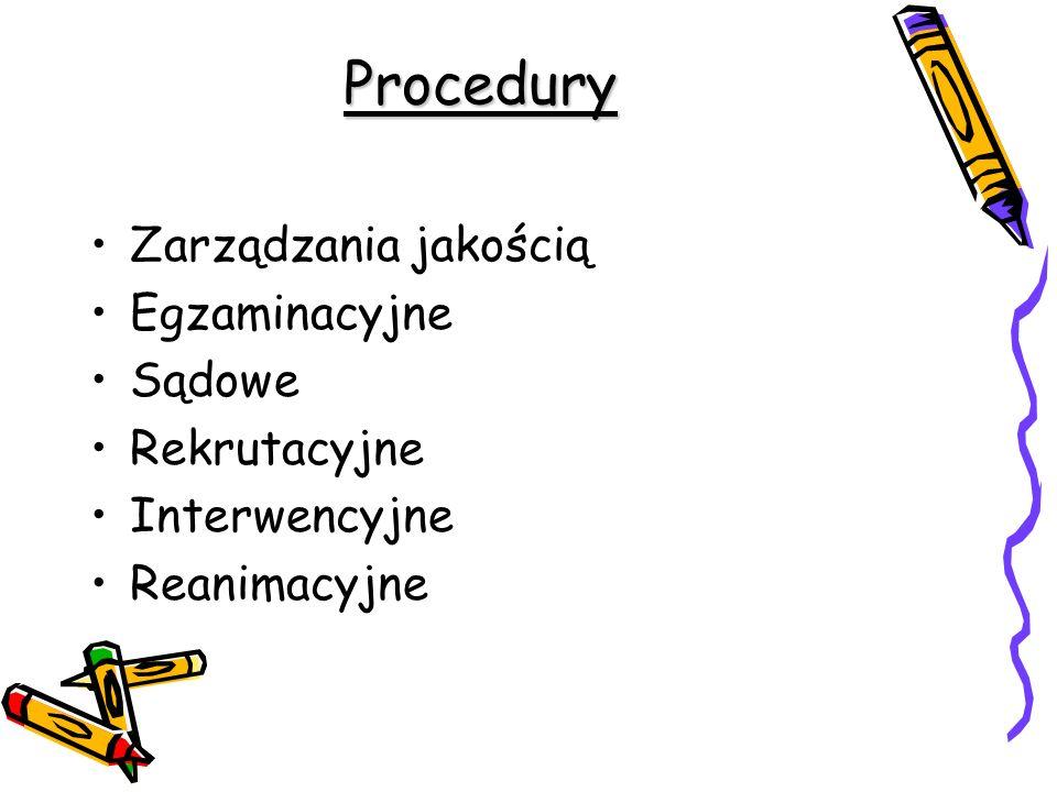 Procedury Zarządzania jakością Egzaminacyjne Sądowe Rekrutacyjne Interwencyjne Reanimacyjne