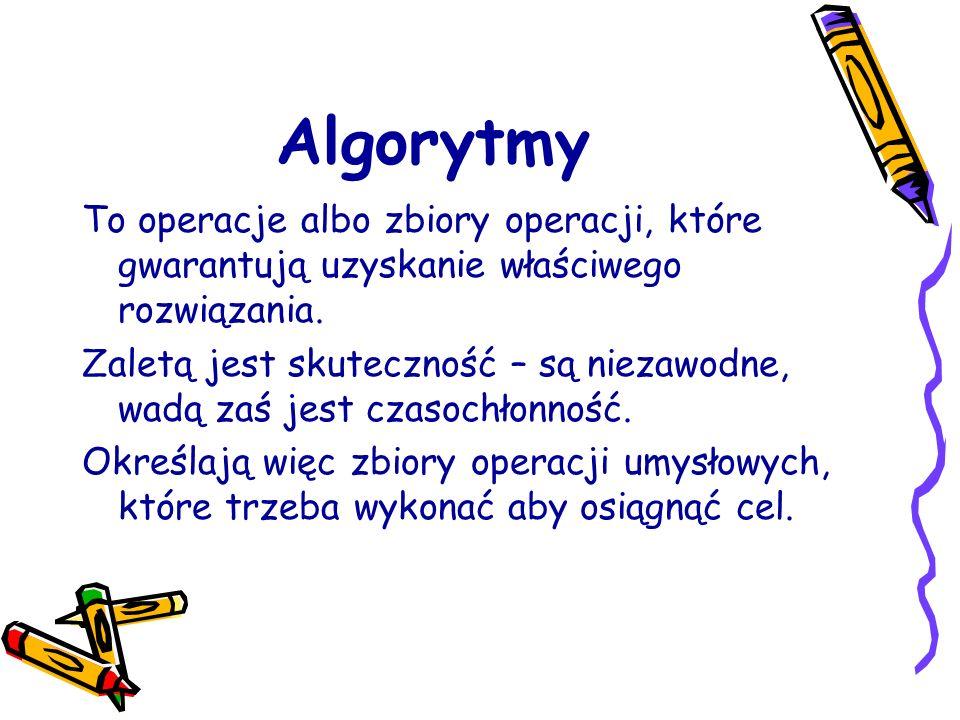 Algorytmy To operacje albo zbiory operacji, które gwarantują uzyskanie właściwego rozwiązania. Zaletą jest skuteczność – są niezawodne, wadą zaś jest