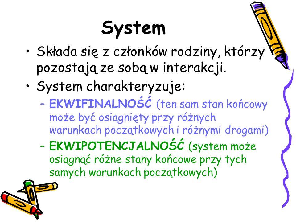 System Składa się z członków rodziny, którzy pozostają ze sobą w interakcji. System charakteryzuje: –EKWIFINALNOŚĆ (ten sam stan końcowy może być osią