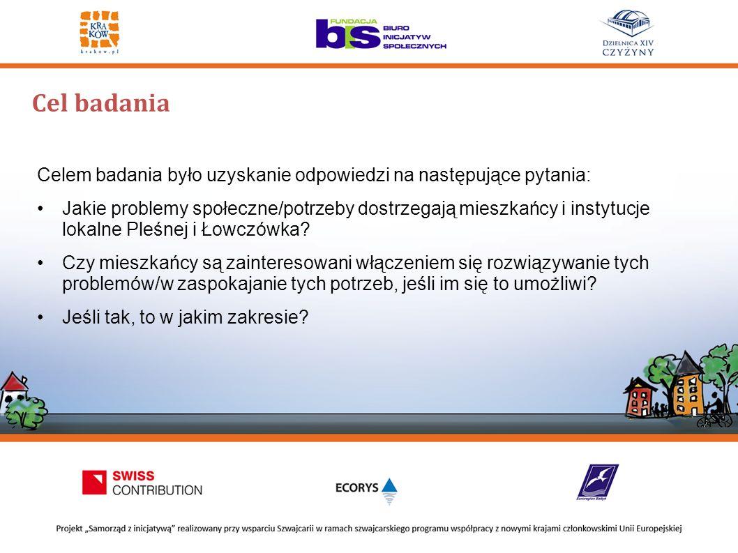 Cel badania Celem badania było uzyskanie odpowiedzi na następujące pytania: Jakie problemy społeczne/potrzeby dostrzegają mieszkańcy i instytucje lokalne Pleśnej i Łowczówka.
