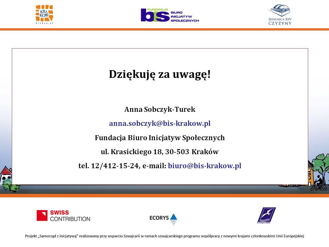 Dziękuję za uwagę! Anna Sobczyk-Turek anna.sobczyk@bis-krakow.pl Fundacja Biuro Inicjatyw Społecznych ul. Krasickiego 18, 30-503 Kraków tel. 12/412-15