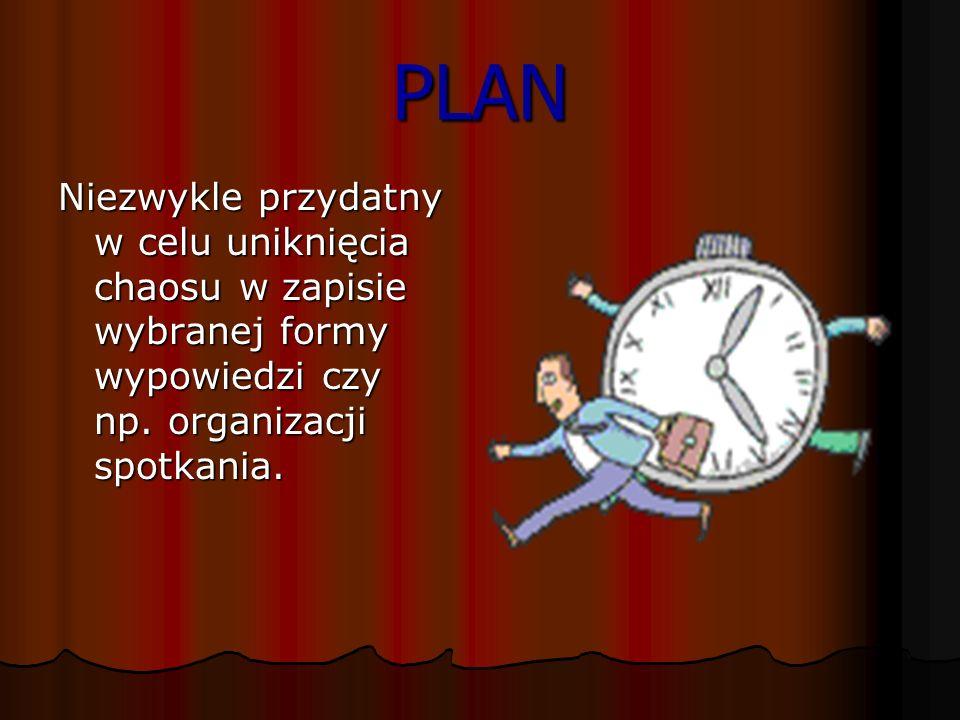 PLAN Niezwykle przydatny w celu uniknięcia chaosu w zapisie wybranej formy wypowiedzi czy np.