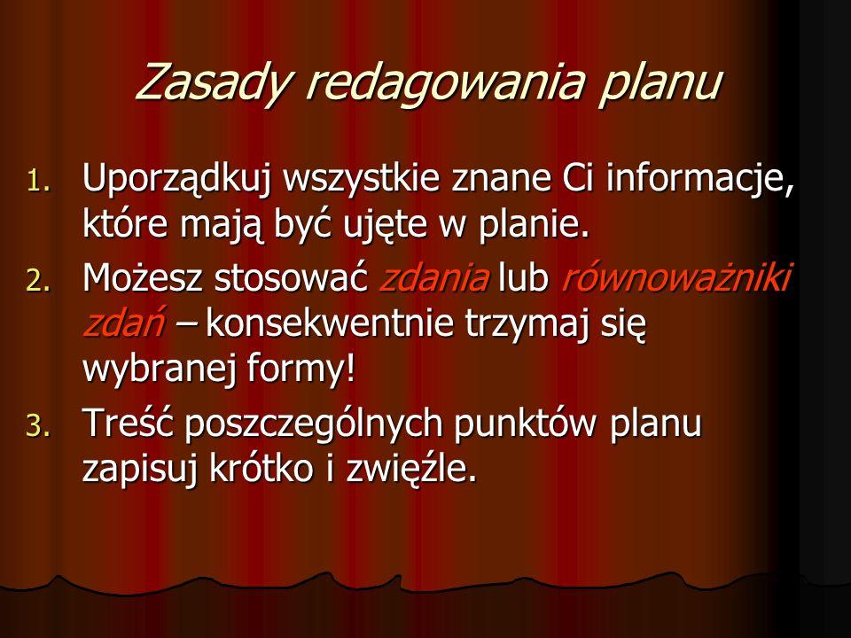 Zasady redagowania planu 1.