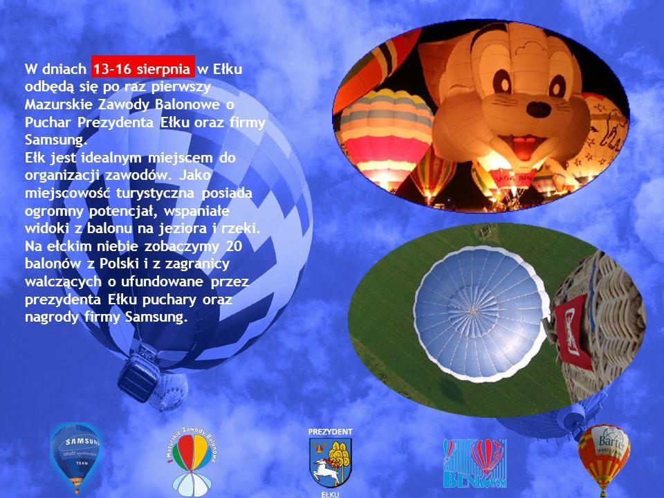W dniach 13-16 sierpnia w Ełku odbędą się po raz pierwszy Mazurskie Zawody Balonowe o Puchar Prezydenta Ełku oraz firmy Samsung. Ełk jest idealnym mie
